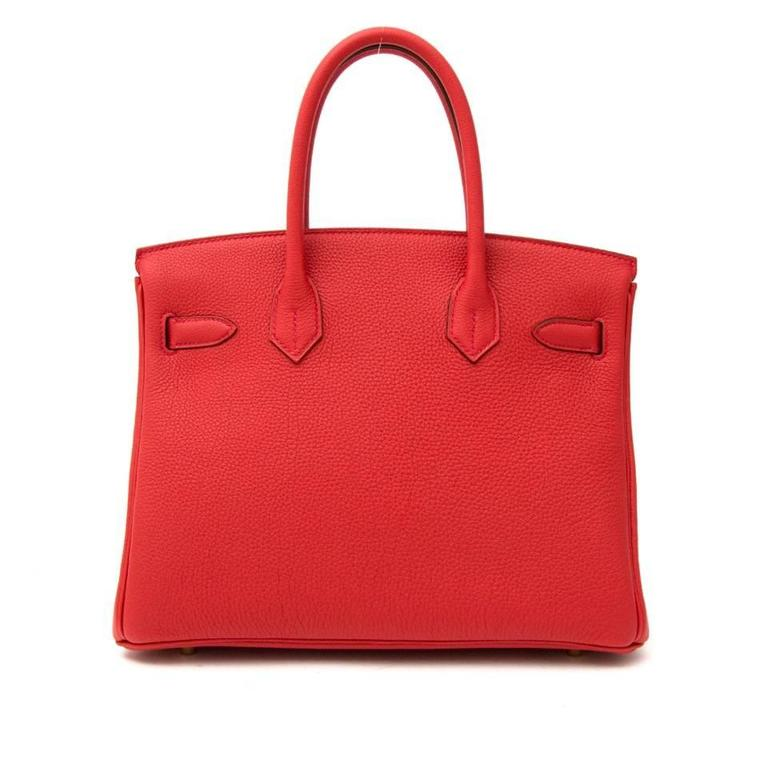 Women's or Men's Hermes Birkin 30 Veau Togo Geranium GHW For Sale