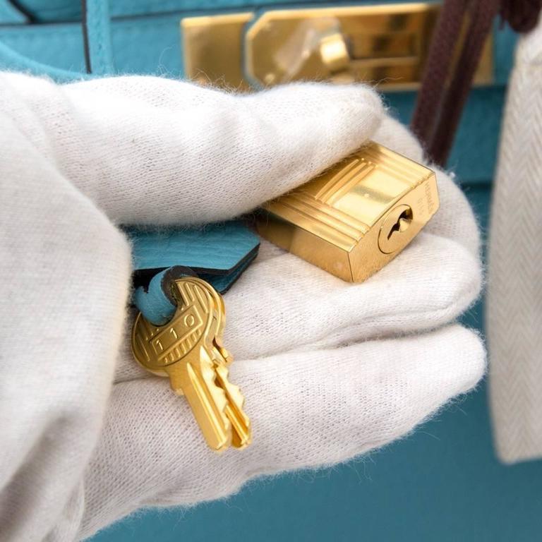 BRAND NEW Hermes Birkin 35 Bleu Saint Cyr Torrion Clemence PHW 4
