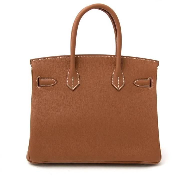 Brown Brand New Hermes Birkin 30 Gold Togo PHW For Sale