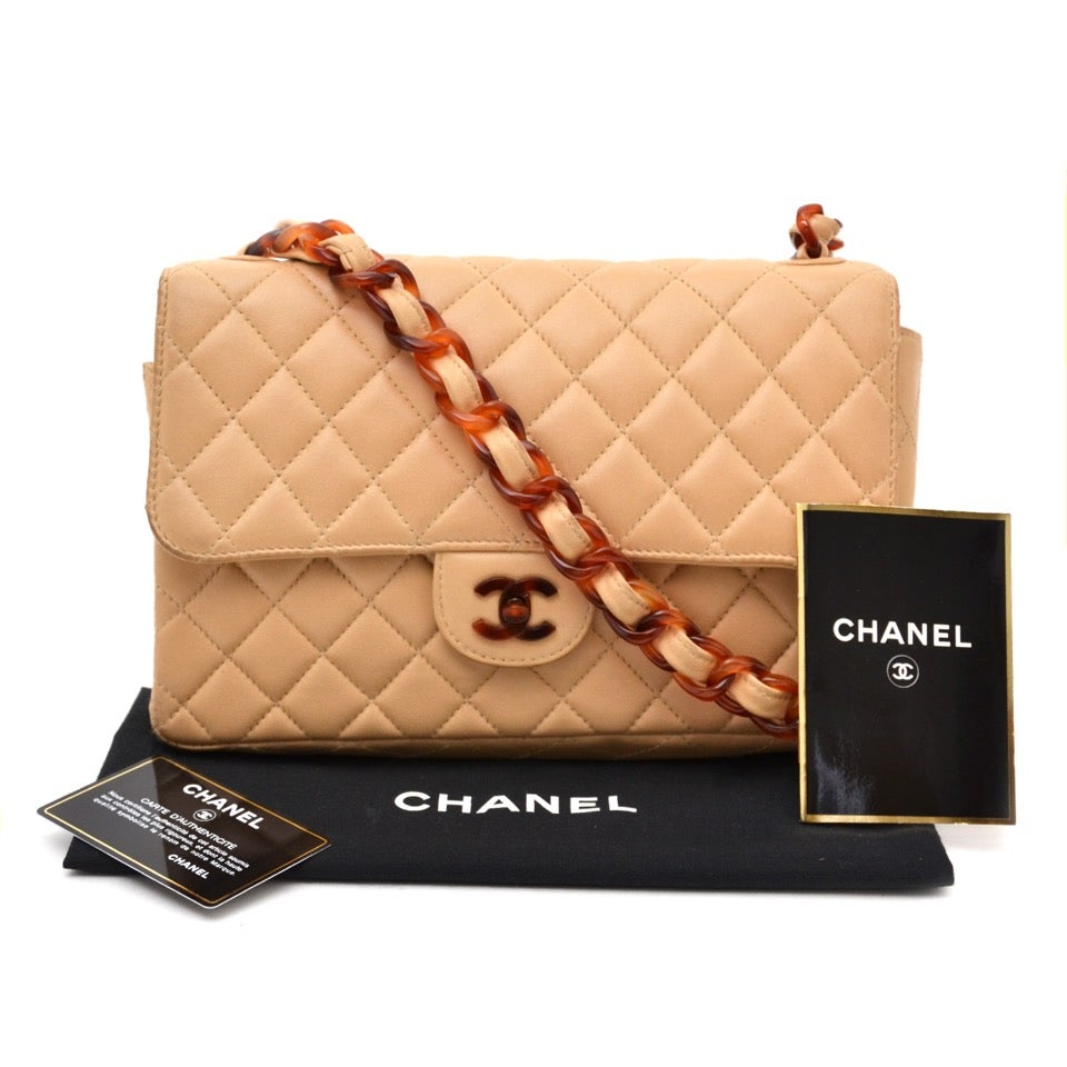 33857f02c98a Chanel Classic Flap Bag Nude with Tortoise Details at 1stdibs