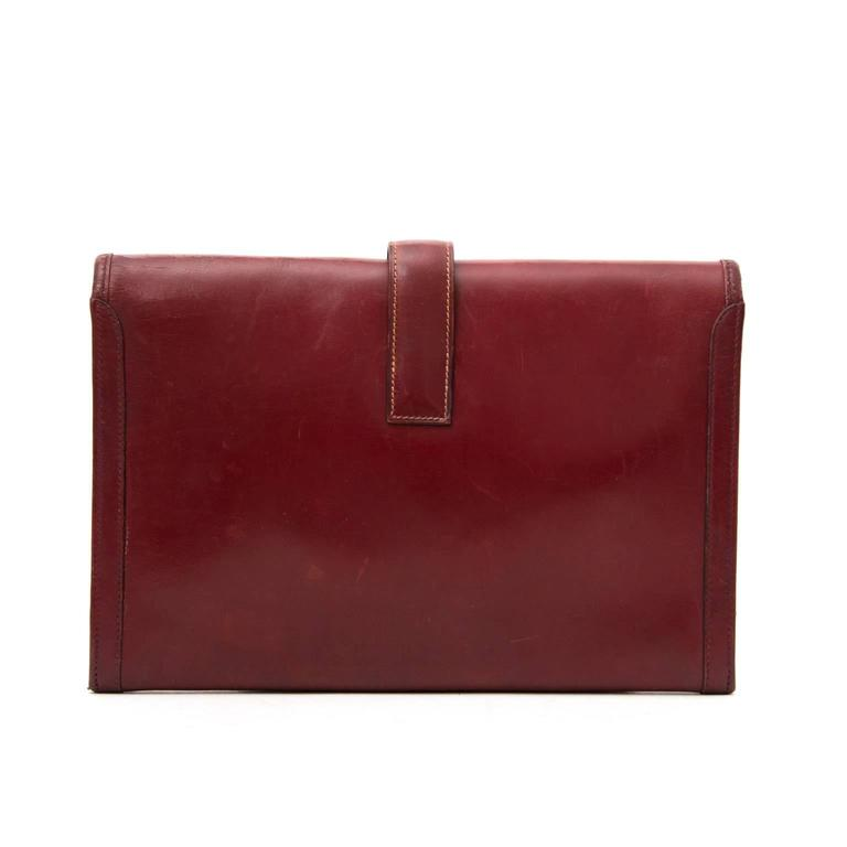 Brown Hermes Bordeaux Jige Clutch For Sale