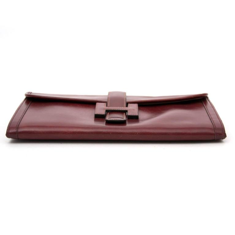 Women's or Men's Hermes Bordeaux Jige Clutch For Sale