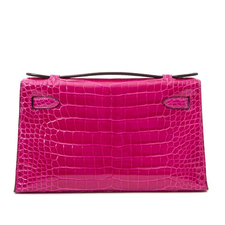 Women's or Men's Rare Brand New Hermes Kelly Pochette Alligator Rose Sheherazade PHW For Sale