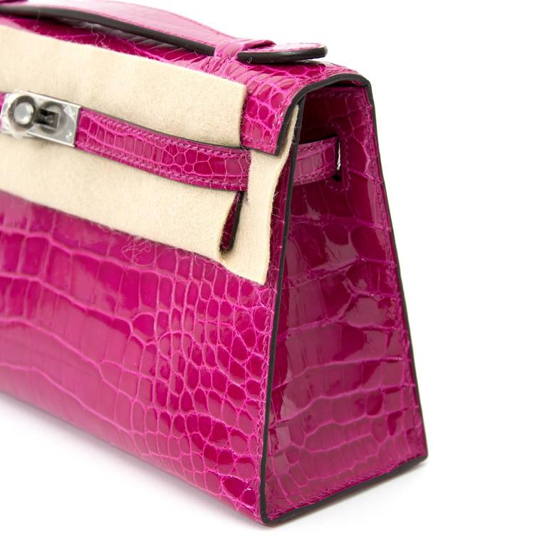 Rare Brand New Hermes Kelly Pochette Alligator Rose Sheherazade PHW For Sale 1