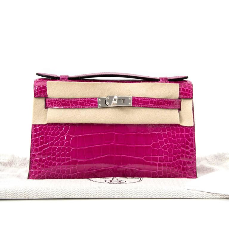Rare Brand New Hermes Kelly Pochette Alligator Rose Sheherazade PHW For Sale 2