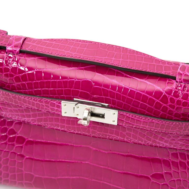 Rare Brand New Hermes Kelly Pochette Alligator Rose Sheherazade PHW For Sale 3