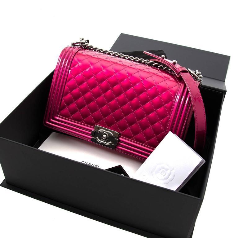 c62e6f049650 Limited Chanel Metallic Patent Fuchsia New Medium Boy Bag This iconic boy  bag is a real