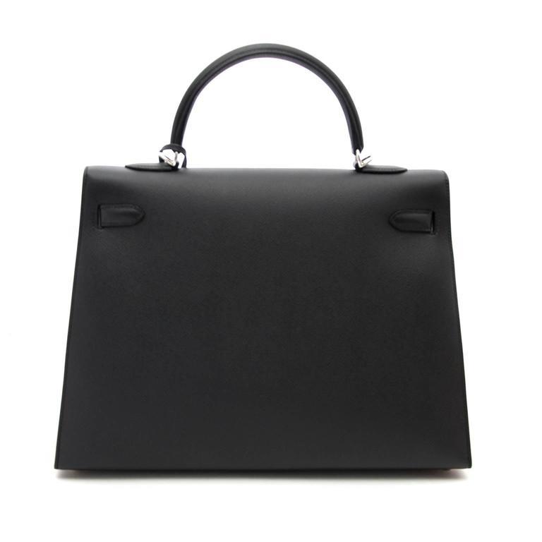 Women's or Men's Brand New Hermes Kelly  Black  Epsom 35 PHW For Sale
