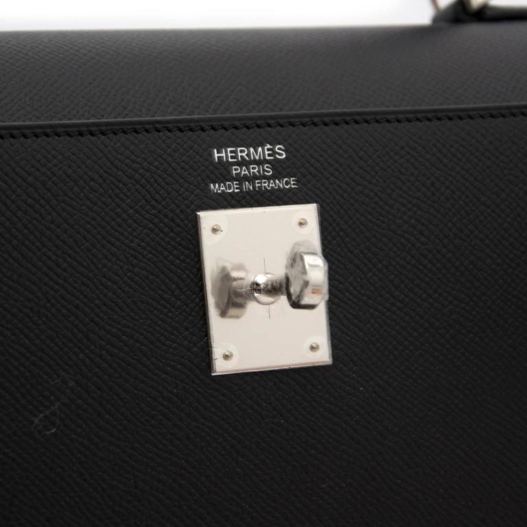 Brand New Hermes Kelly  Black  Epsom 35 PHW For Sale 2