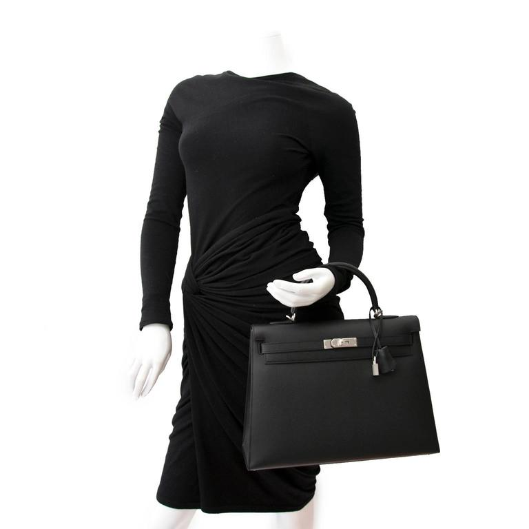 Brand New Hermes Kelly  Black  Epsom 35 PHW 5