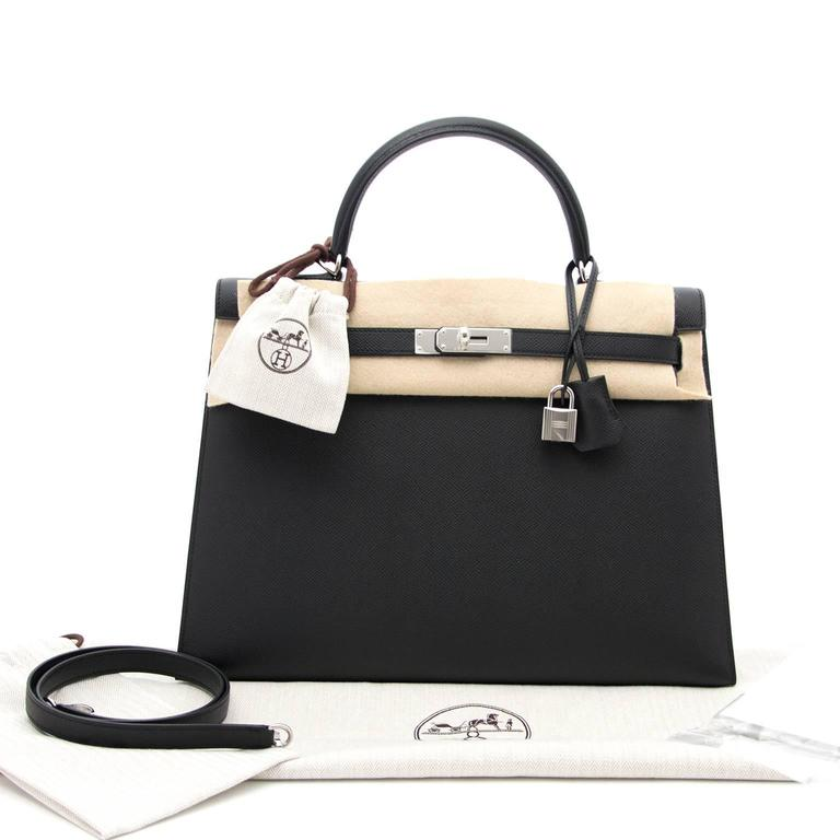 Brand New Hermes Kelly  Black  Epsom 35 PHW 7