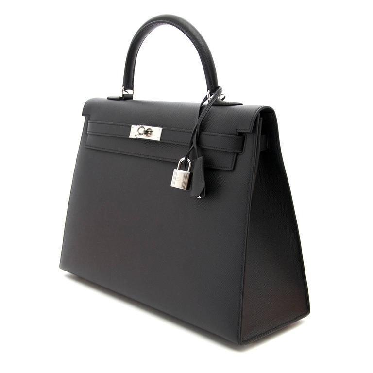 Brand New Hermes Kelly  Black  Epsom 35 PHW For Sale 4
