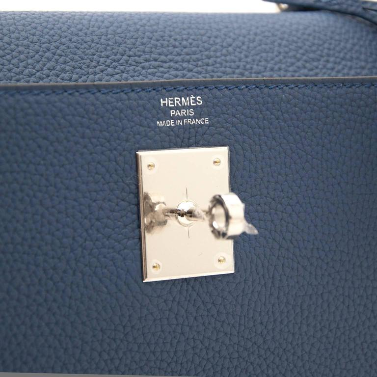 Blue Brand New Hermes Kelly 28 Bleu Agate Togo PHW For Sale