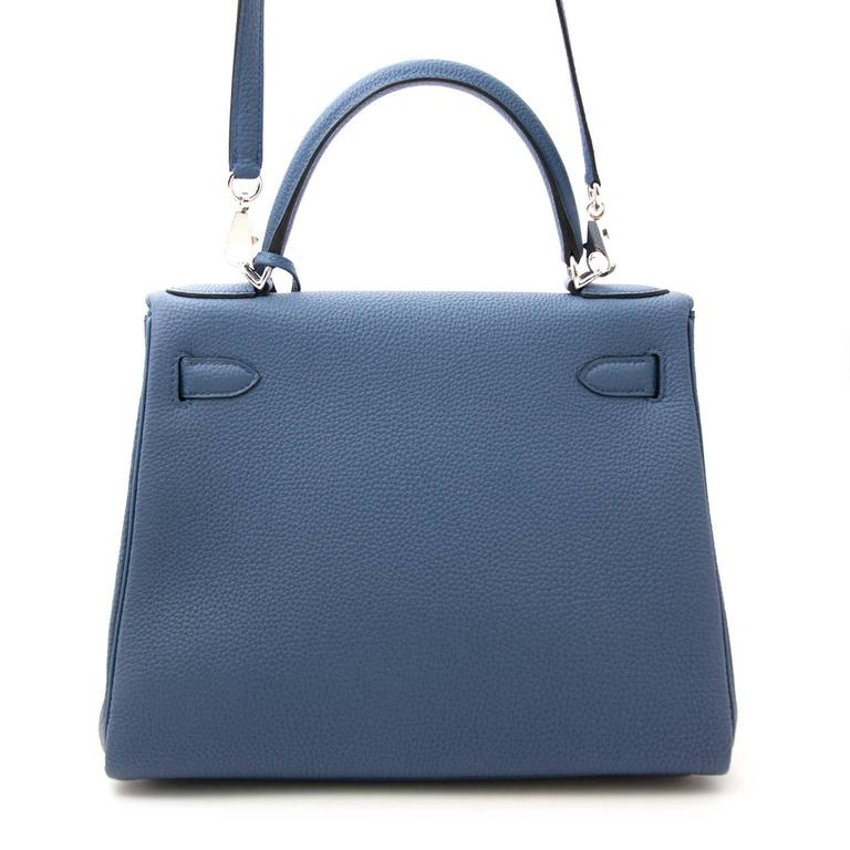 Brand New Hermes Kelly 28 Bleu Agate Togo PHW For Sale 2