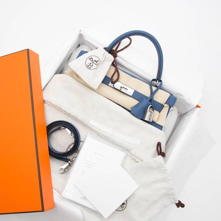 Brand New Hermes Kelly 28 Bleu Agate Togo PHW 2
