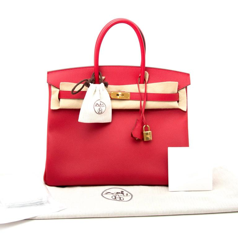 Red Brand New Hermes Birkin 35 Rouge Casaque Epsom GHW For Sale