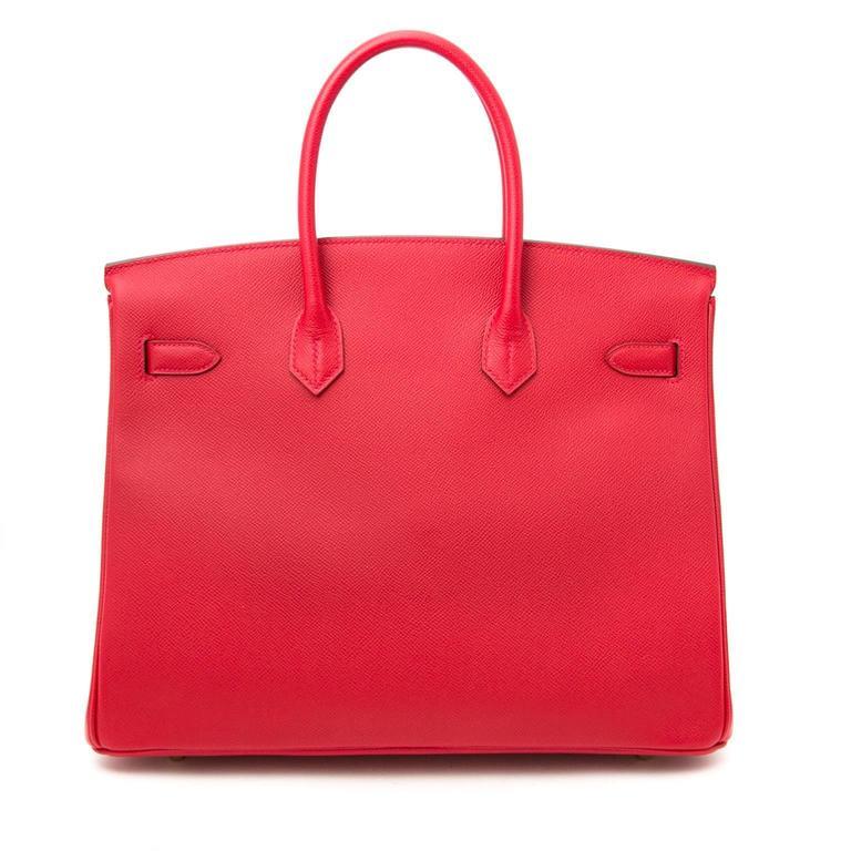 Brand New Hermes Birkin 35 Rouge Casaque Epsom GHW 5