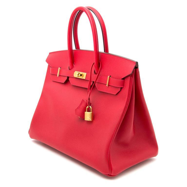Brand New Hermes Birkin 35 Rouge Casaque Epsom GHW In New never worn Condition For Sale In Antwerp, BE