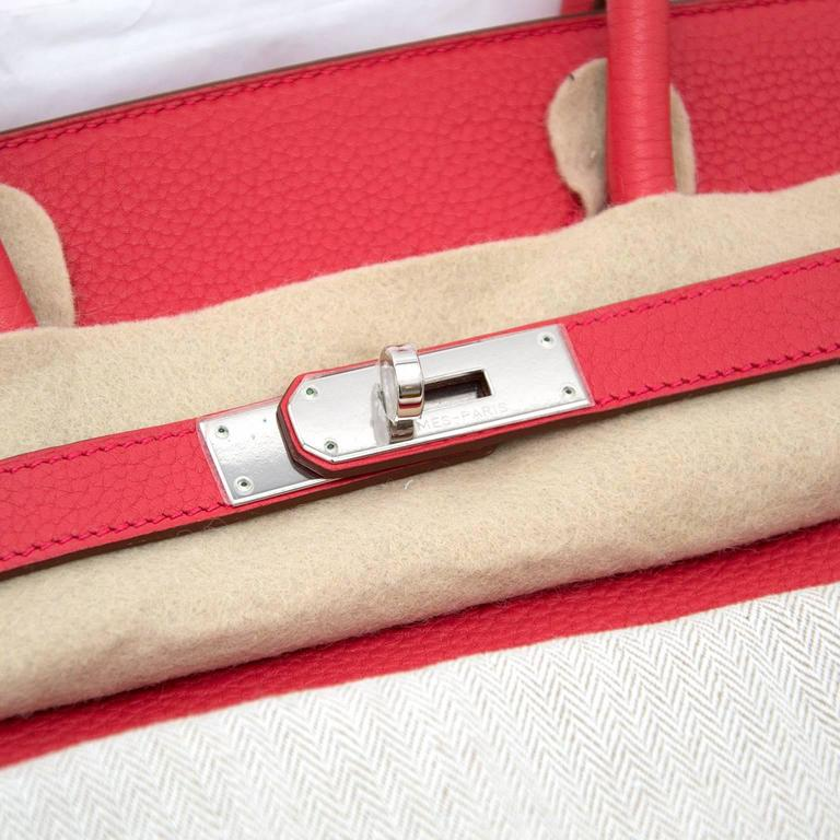 Red Brand New Hermes Birkin 35 Clemence Taurillon Bougainvillea For Sale
