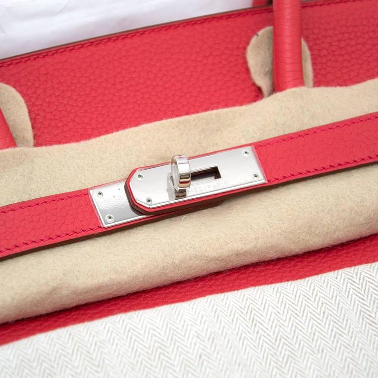 Red Brand New Hermes Birkin 35 Clemence Taurillon Bougainvillea