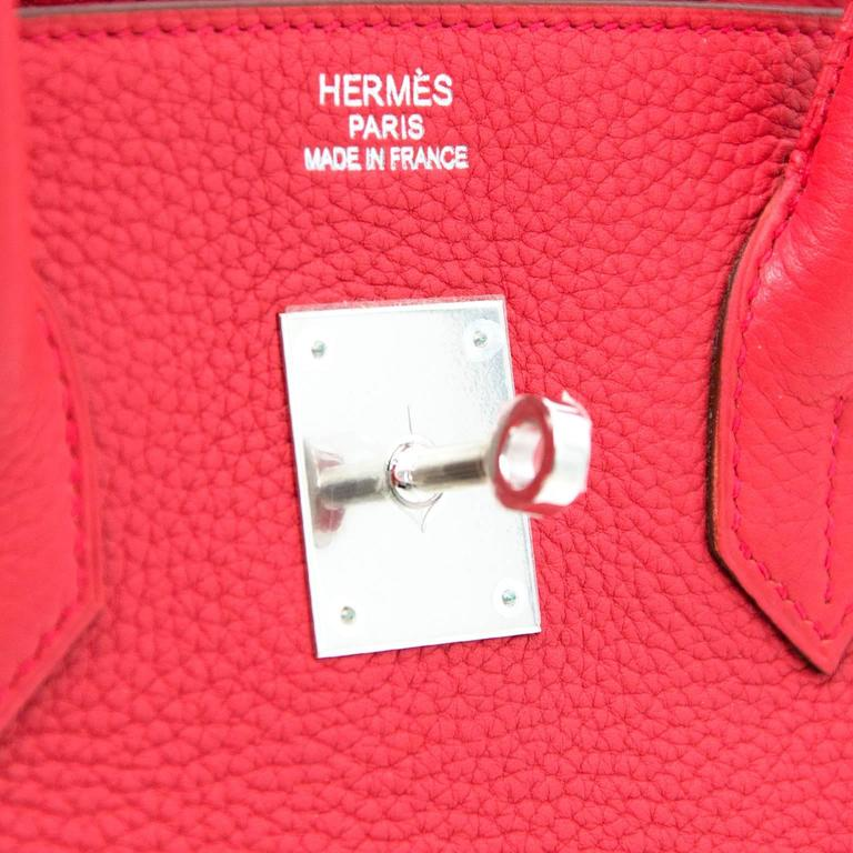 Brand New Hermes Birkin 35 Clemence Taurillon Bougainvillea In New never worn Condition For Sale In Antwerp, BE