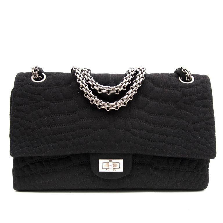 Chanel Large 2.55 Black Fabric Bag For Sale