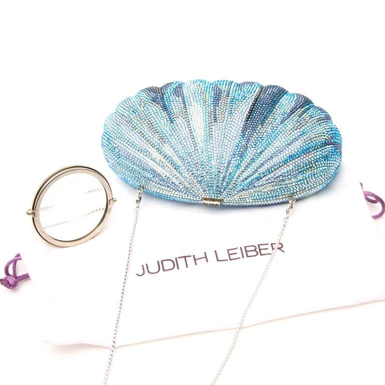 Judith Leiber Blue Shell Clutch 5