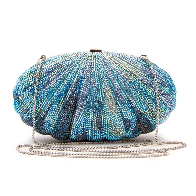 Judith Leiber Blue Shell Clutch 6