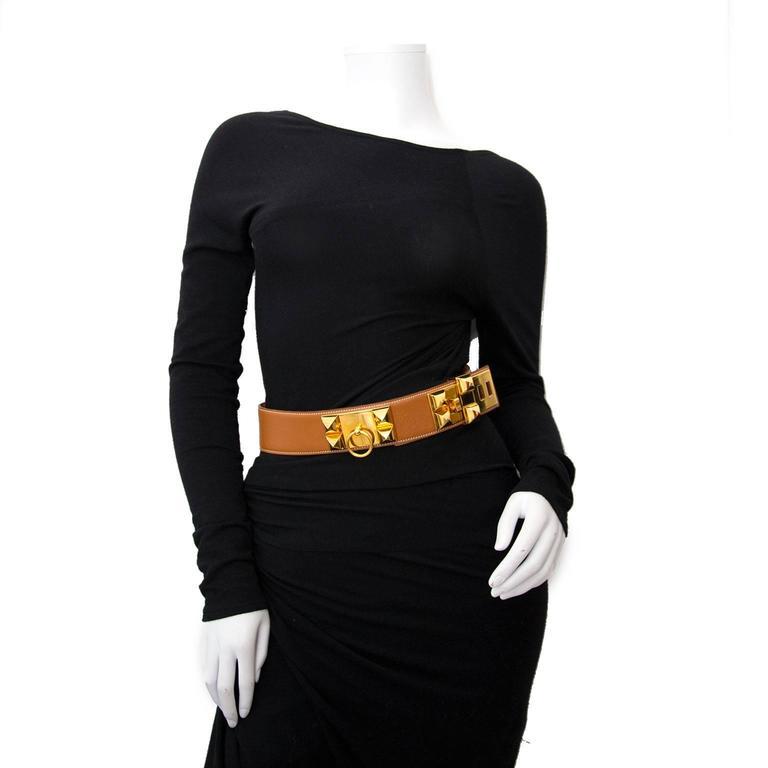 Hermes Brown Collier De Chien Belt  4
