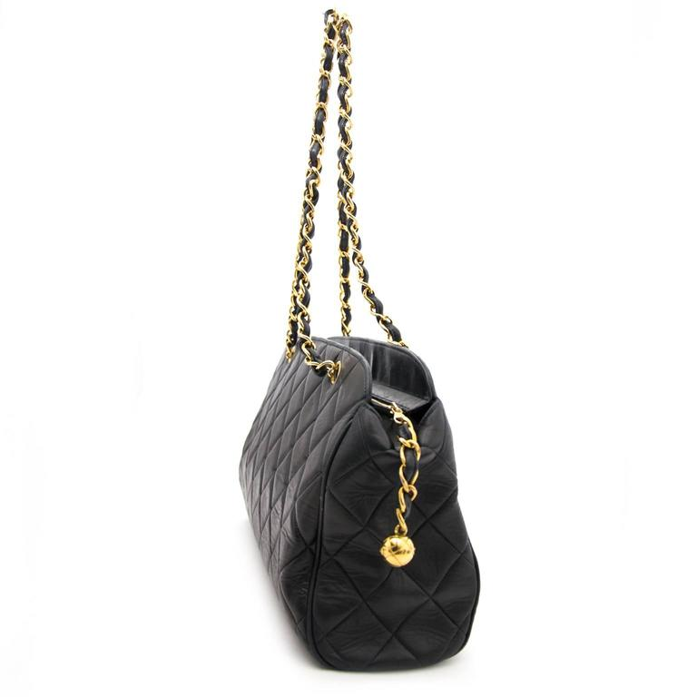 Chanel Navy Quilted Leather Shopper 2