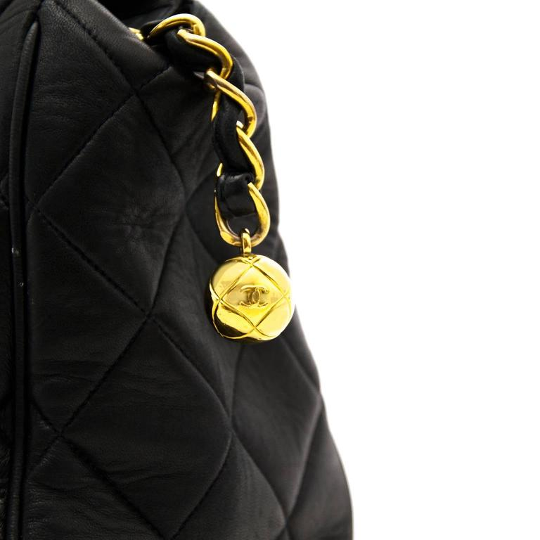 Chanel Navy Quilted Leather Shopper 3