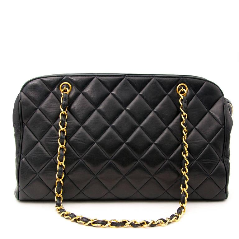 Chanel Navy Quilted Leather Shopper 7