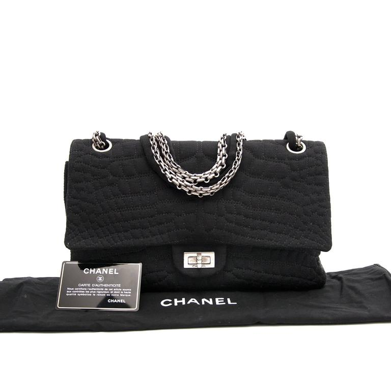 Women's or Men's Chanel Large 2.55 Black Fabric Bag For Sale