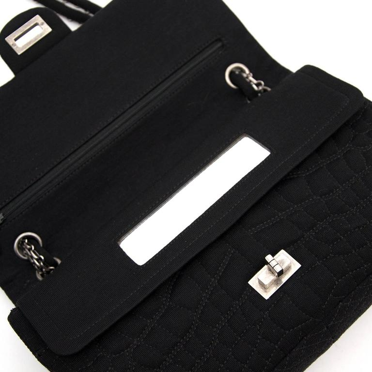Chanel Large 2.55 Black Fabric Bag For Sale 2