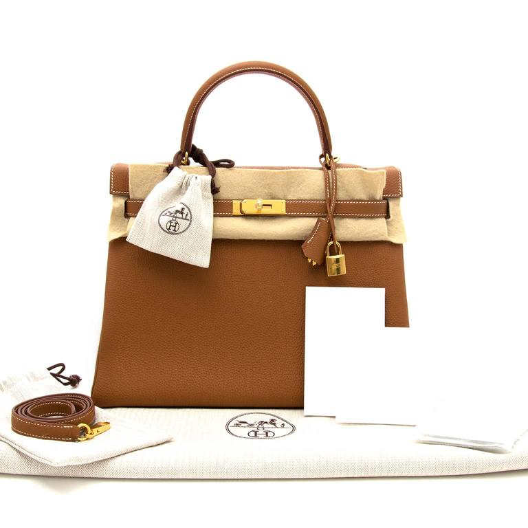 a1cae4c19404f Brown Brand New Hermes kelly 35 Gold Togo GHW For Sale