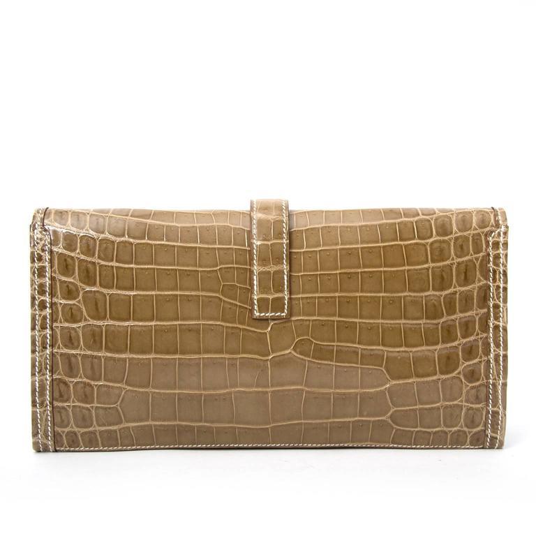 Hermes Pochette Jige Elan 29 Crocodile Niloticus Lisse Ficelle For Sale 2
