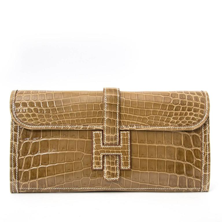 Hermes Pochette Jige Elan 29 Crocodile Niloticus Lisse Ficelle For Sale