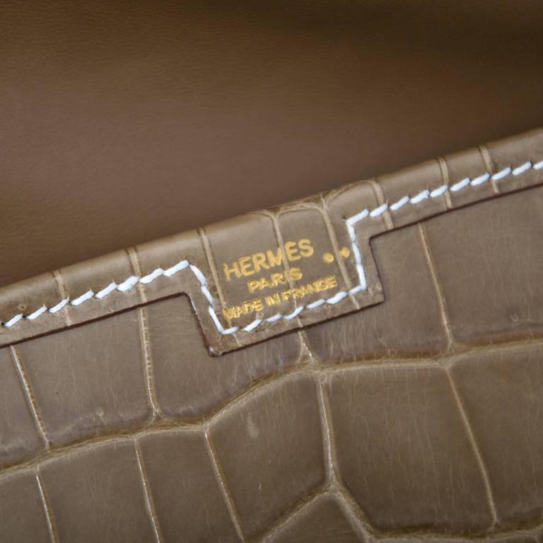 Hermes Pochette Jige Elan 29 Crocodile Niloticus Lisse Ficelle For Sale 4