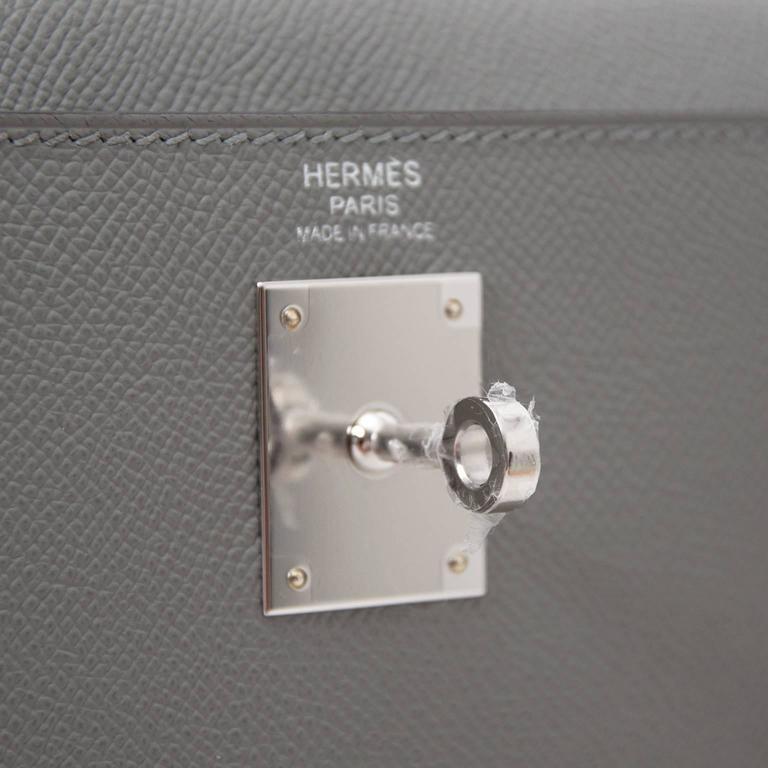 Hermes Kelly 32 Epsom Gris Mouette For Sale 2