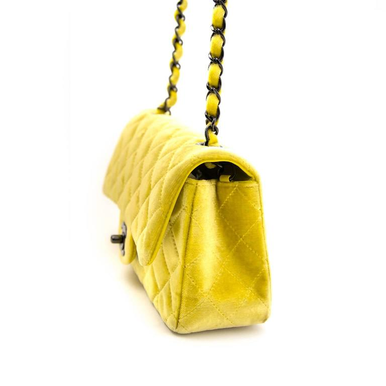 Estimated Retail Price 2490 Chanel Yellow Velvet Classic New Mini Flap Bag This Beautiful