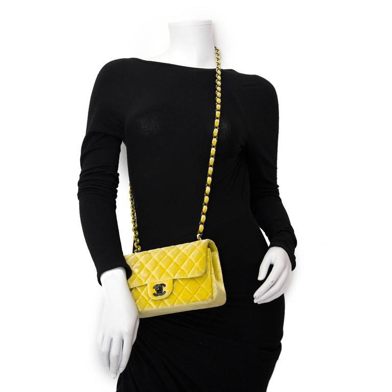 Women's or Men's Chanel New Mini Yellow Velvet Flap Bag For Sale