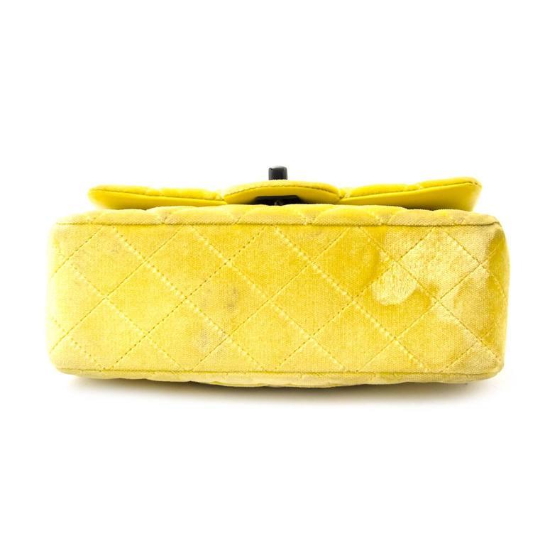 Chanel New Mini Yellow Velvet Flap Bag For Sale 1