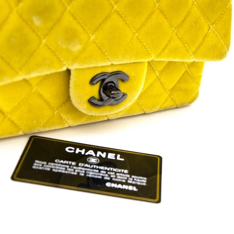 Chanel New Mini Yellow Velvet Flap Bag For Sale 2