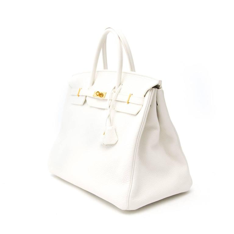 Beige Hermes Birkin 40 Clemence Taurillon GHW For Sale