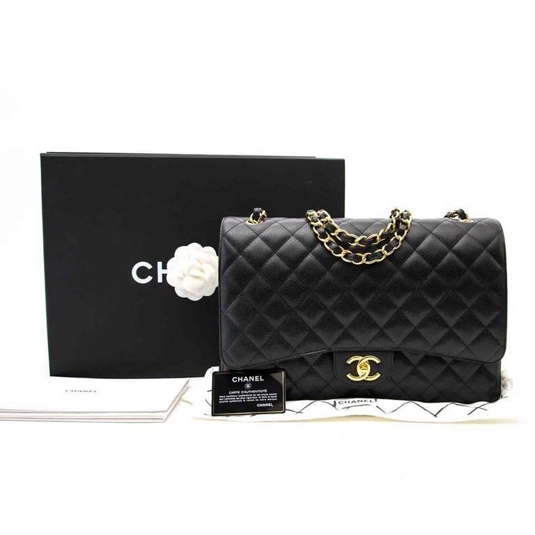 Chanel Black Maxi Caviar Classic Double Flap Bag  3