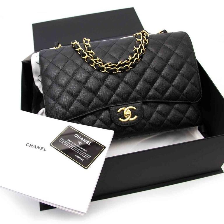 Chanel Black Maxi Caviar Classic Double Flap Bag  5