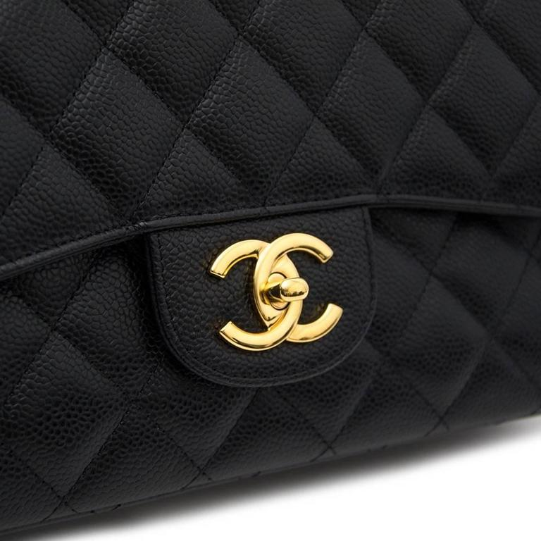 Chanel Black Maxi Caviar Classic Double Flap Bag  6