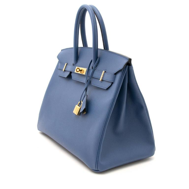 Purple Brand New Hermes Birkin 30 Epsom Bleu Agate GHW For Sale