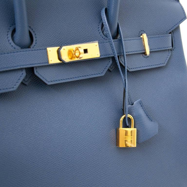 Brand New Hermes Birkin 30 Epsom Bleu Agate GHW 8