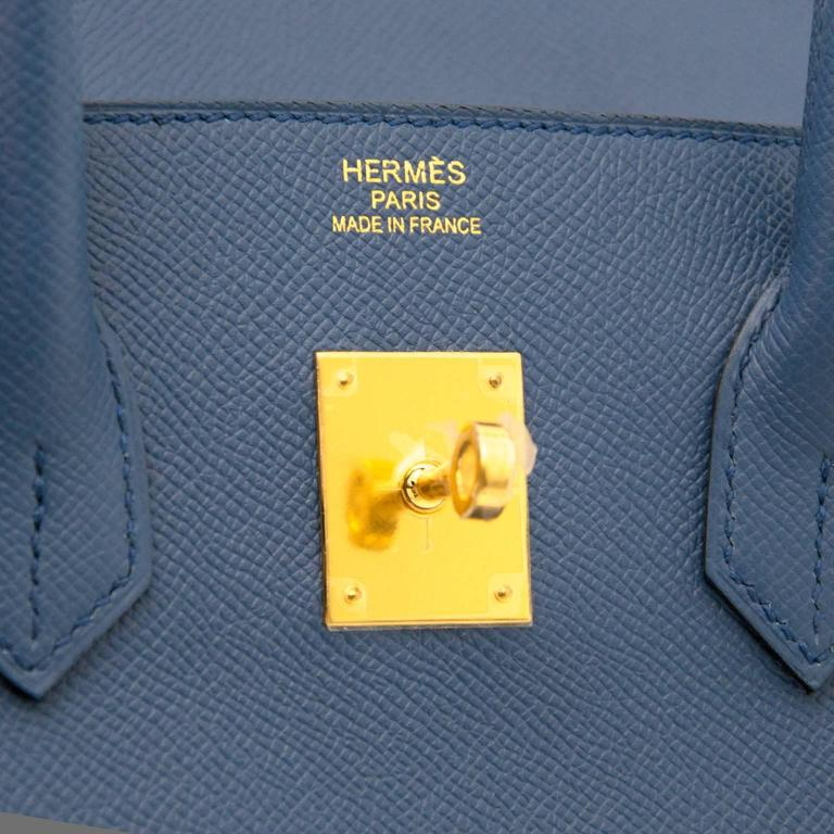 Brand New Hermes Birkin 30 Epsom Bleu Agate GHW For Sale 2